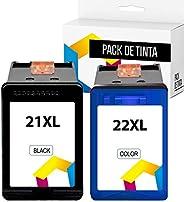 TONERPACK 21 XL 22 XL Cartuchos de Tinta Compatible para HP 21XL 22XL para impresoras Deskjet F4180 F2180 F228