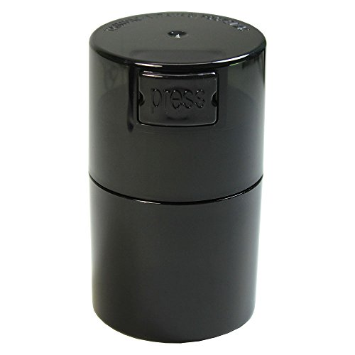 Tightvac Vitavac-Pocketvac Vacuum Sealed Pill Box & Vitamin Container, 1/2-Ounce/ 06. Liter, Black Pearl Tinted Body/Cap