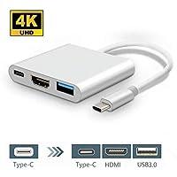 Adattatore USB Tipo-C AD HDMI / USB3.0 / USB 3.1 Tipo-C, HuiHeng USB 3.1 Tipo C USB-C 4K HDMI Adattatore multimediale AV Digitale per MacBook, Chromebook Pixel e altro