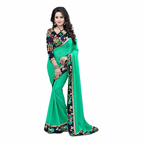 Indian Handicrfats Export Designer Floral Print Bollywood Georgette Saree (Green) -