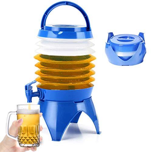 auvstar Faltbarer Wasserbehälter, Faltender Bierfass, 5L Tragbarer Faltbarer Wasserträger-Behälterhalter-Eimer mit Wasserhahn für Outdoor Sports