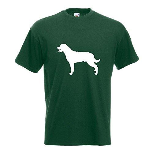 KIWISTAR - Rottweiler Hunderasse Dog T-Shirt in 15 verschiedenen Farben - Herren Funshirt bedruckt Design Sprüche Spruch Motive Oberteil Baumwolle Print Größe S M L XL XXL Flaschengruen