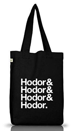 Hodor& Hodor& Hodor& Hodor. Jutebeutel Stoff Tasche Earth Positive (ONE SIZE) Black