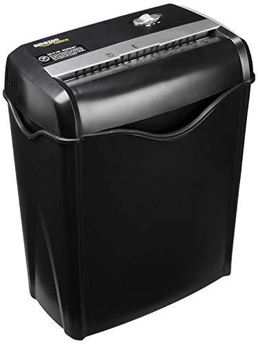 AmazonBasics – Destructora de papel y tarjetas de crédito con recipiente separable (corte cruzado, capacidad de hasta 6 hojas)