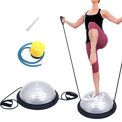 ISE Balance Trainer Fitball Media Bola de Equilibrio para Entrenamiento, Ø 46cm Gym Pelota Balón Semiesfera de Gimnasia Pilates con Cables y Inflador para Yoga y Fitness, MAX. 150 KG, Gris SY-BAS1003