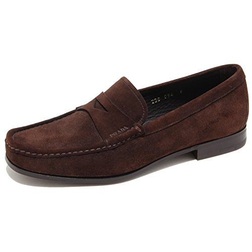 9583I mocassini uomo marroni PRADA fascetta scarpe loafers shoes men [7]