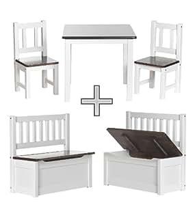 IMPAG ® Kinder-Sitzgruppe | 1 Tisch, 2 Stühle, 1 Truhenbank | Nordische Kiefer | Kinderzimmer Möbel in Top Qualität | komplettes Kindermöbel Set inkl. Sitzbank mit Stauraum |4Varianten wählbar