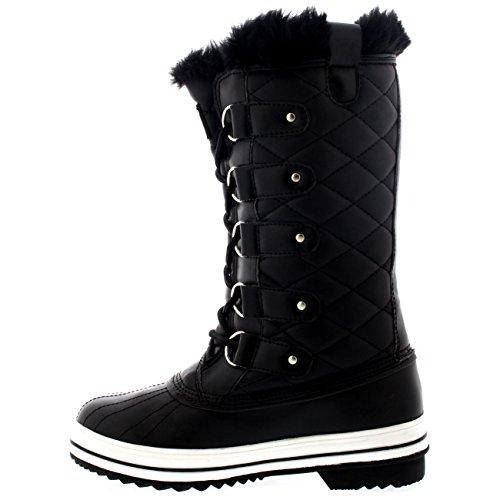 Damen Schnee Stiefel Nylon Tall Wasserdicht Gefüttert Regen Stiefel Schwarz Leder