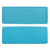 Top-Spring Non-Slip Bath Mat Soft Rubber Bathroom Bathtub Mat with Strong Suction Cups, Extra Long Shower Mat-13.8X36.6 inch (Sky-Blue)