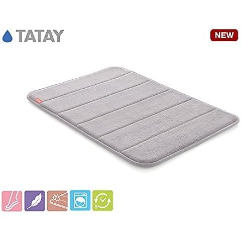 TATAY 5513002 Alfombra Baño antideslizante 100% microfibra Nuvola, color gris, medidas 40 x 60 x 2 cm.