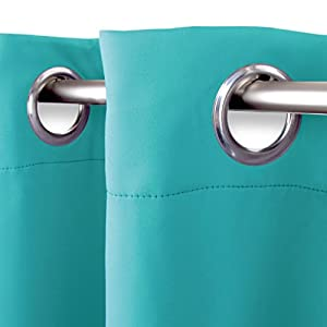 Bestlivings Verdunklungsgardine mit Ösen Aufhängung, modernes Wohnaccessoire bietet hervorragenden Blendschutz und ist in vielen erhältlich (türkis - Pfauenblau / 135cm x 175cm)