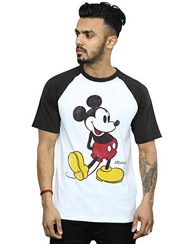 Disney Herren Mickey Mouse Classic Kick Baseball-T-Shirt Weiß Schwarz XX-Large
