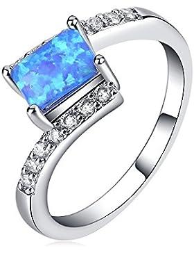lanmpu 925Sterling Silber Synthese Blue geschaffen Fire Opal Fashion Ringe Rhodium-Plattierung für Frauen und...