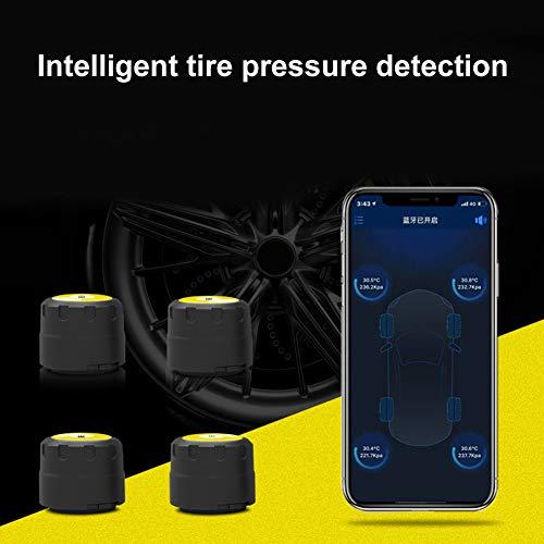 YSHtanj Bluetooth-Reifendrucksensor, Alarmsysteme und Sicherheitssensor, 4 Stück, Bluetooth 4.0, Handy-APP-Display, TPMS Reifendruck-Monitor, externe Sensoren - Bluetooth-auto-rad