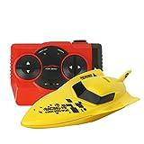 Zantec 2,4G Fernbedienung Speed   Boat Spielzeug, Wasserdicht Mini RC Racing Boote Geschenk für Kinder gelb