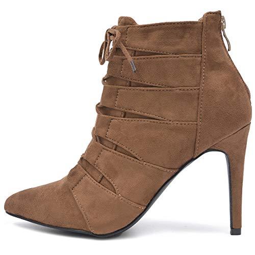 Vain Secrets Damen Ankle Boots High Heels Stiefeletten Pumps in Samz mit Rosa Lack Sohle (37 EU, M3 Camel)
