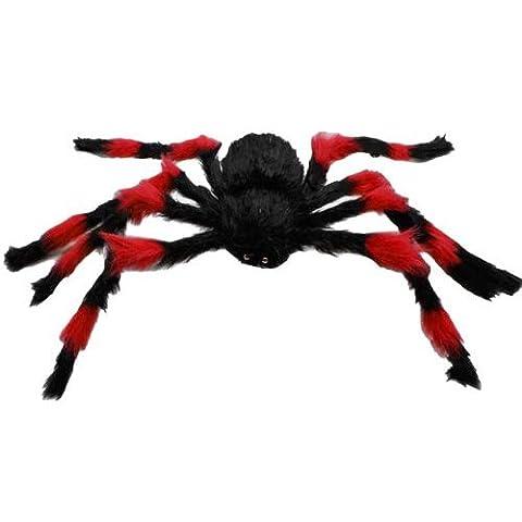 Dcolor 75cm Large Araignee Jouet en Peluche / Halloween Decor - Rouge et Noir