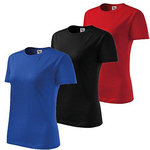 3er Pack Dress-O-Mat Damen T-Shirt Shirt rundhals klassisch Tailliert schwarz blau rot