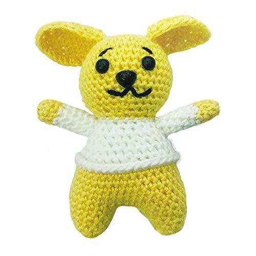 Gelb-Weiß-Schwarze Welpe Hund Spielzeug Häkeln Stricken Süchtig Kit Amigurumi Kinder Handwerk DIY Geschenk 12cm