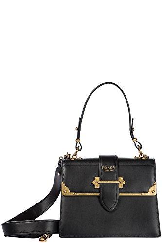 Prada Leder Handtasche Damen Tasche Bag Schwarz