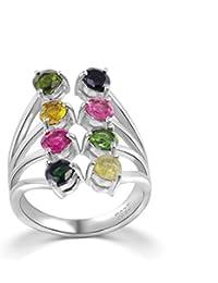 colorfey S925plata de ley piedras preciosas turmalina ajustable anillos para las mujeres, las niñas, tamaño L, N, o, P, Q, R, S, T, U, V, W disponibles)