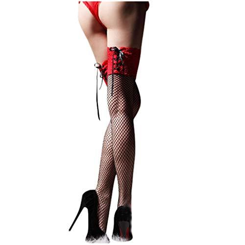 Goosuny Damen Netzstrumpfhose Sexy Strümpfe Transparent Mit Spitze Oberschenkelhoch Kniestrümpfe Overknees Socken Strapsstrümpfe Damenstrümpfe Aushöhlen - Fett Kostüm Paare