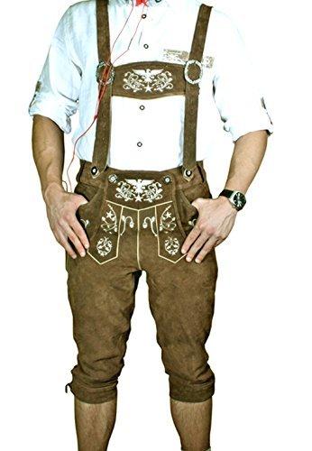 Trachten LEDERHOSE Kniebund Adler Braun leather trousers SMARTPHONE TASCHE KNHA1 Gr. 48