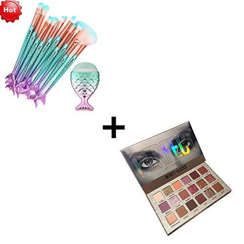 11PCS/10PCS EUZeo Make-up Pinsel Set,Make Up Eyeliner Blush Kosmetik Pinsel Make-Up Pinselset Pinsel Set Teiliges Premium Schminkpinsel Set (11PCS+18 Farben Lidschatten Palette) (Make-up Blush-palette Unter $5)