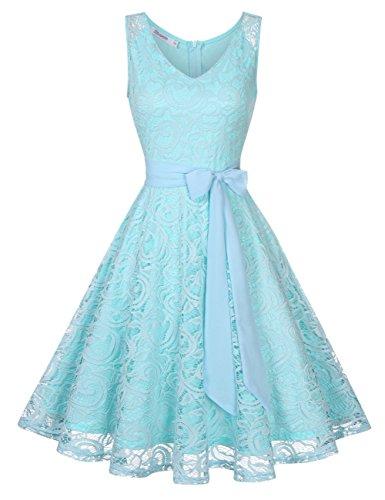 KOJOOIN Damen Vintage Kleid Brautjungfernkleid Knielang Spitzenkleid Cocktailkleid Himmel Blau XS