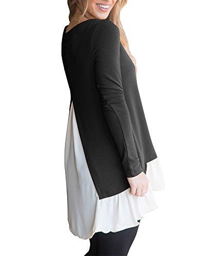 Junshan Chemise Femme Manches Longues Col Rond Splice Shirt Blouse Tops T-Shirt Manches Longues Décoratifs Boucle Couture Noir