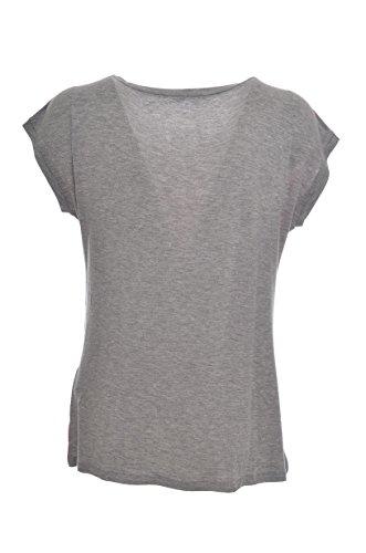 Liu Jo Sport T-Shirt Marinara Spalla scesa Logo con Strass Donna, T17075, Slim Grigio chiaro