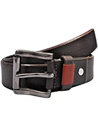 POLO INTL Men's Leather Belt (Chocolate Brown, 32 inches)