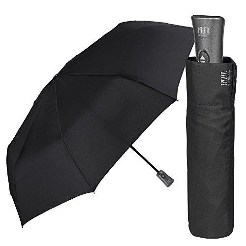 Ombrello uomo nero leggero e pieghevole - mini ombrello portatile tinta unita resistente antivento con trattamento teflon - automatico apri e chiudi - diametro 98 cm - perletti technology