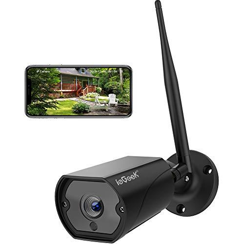 Caméra de Surveillance WiFi, ieGeek Caméra IP Extérieur HD 1080P, Caméra Sécurité étanche IP66 avec Audio Bidirectionnel, Vision Nocturne, Alerte de Détection de Mouvement Email Push (Noir)