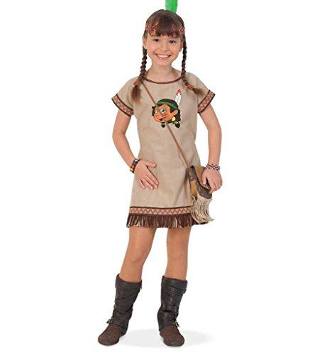 KarnevalsTeufel Kinderkostüm Indianerin Lani Kleid mit Stirnband Wilder Westen Ureinwohner Amerika Gr 104 - 128 (104)