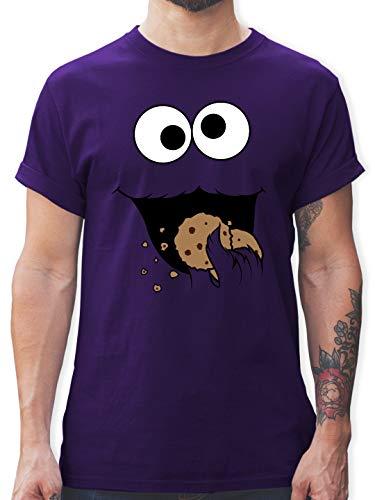 Karneval & Fasching - Keks-Monster - XXL - Lila - L190 - Herren T-Shirt Rundhals