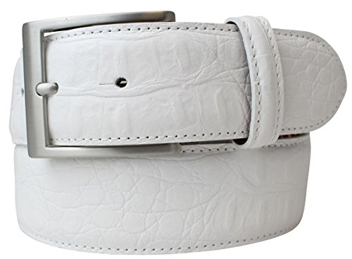 Gürtel mit Krokoprägung 4,0 cm Kroko-Prägung Hochwertig Krokodil-Muster Reptil-Prägung Ledergürtel Gurt Jeans 40mm Chino, Bundweite 85, Weiß, Silber (Krokodil Gürtel)
