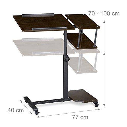 Relaxdays laptop mesa altura regulable xl hbt 100 x for Mesa de ordenador con ruedas