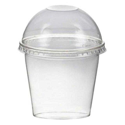 50 Stk. Smoothiesbecher Dessertbecher + Domdeckel 250 ml Ø95mm, PET, glasklar / PET Becher sind glasklare und bruchfeste Becher für Getränke, Desserts, Smoothies etc . Im Vergleich zu herkömmlichen Bechern sind PET-Becher deutlich stärker und robuster. Inkl. Domdeckel.