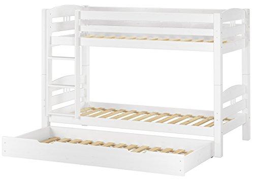 Erst-Holz® Etagenbett Kiefer waschweiß 90x200 mit Rollrost Bettkasten Kinderstockbett Hohes Bett 60.10-09WS7 -