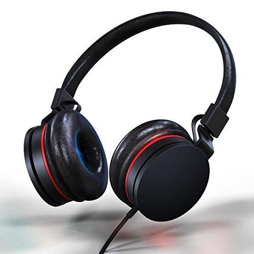 Over-Ear Wired Kopfhörer | leicht verstellbar faltbar Headset mit Mikrofon und Lautstärkeregler Hi-Fi Stereo Leder Kopfhörer für iPad iPhone Smartphones Laptop Computer PC MP3/4(schwarz/rot) (Cap Running Leder)