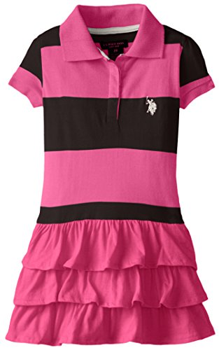 U.S. Polo Assn. Little Girls' Ruffled Stripe Polo Dress, Pink Kite, 2T (Stripe Polo Girls)
