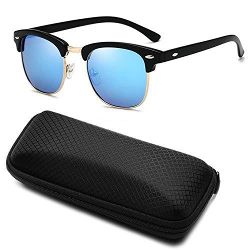Yidarton Sonnenbrille Damen Herren Klassische Polarisiert Retro Unisex Halbrahmen Sonnenbrille UV400 Sonnenbrille verspiegelt Brillen mit Etui (5-Blau)