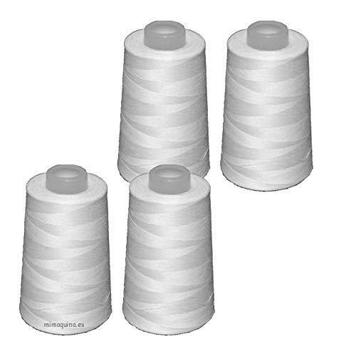 4 conos de hilo blancos de poliester