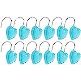 Sharplace 12pcs Anneau Crochet de Rideau Rail en Métal Accessoire pour Store Maison Hôtel-Cœur - Bleu ciel