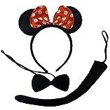 Plüschen Minnie Mouse Ohren, Fliege & Mäuseschwanz. Sehr geeignet für Karneval!