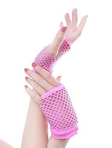 Pink Lace Fingerlose Handschuhe - YiyiLai Punk Stil Damen Kurz Handschuhe