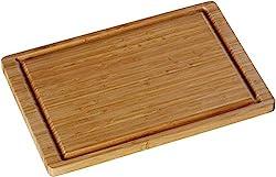 WMF Schneidebrett Holz 38 x 25 x 1,9 cm, Bambus naturbelassen, Holzbrett rechteckig - Tranchierbrett mit Saftrille - Küchenbrett klingenschonend