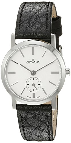 GROVANA 3050.1532 Women's Quartz Swiss Watch with Silver Dial Analogue Display and Black Leather Strap