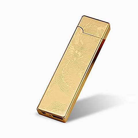 Shaking USB Lighter-SHUNING Heating Coil Electric Rechargeable Lighter, Thin and Portable Mini USB Lighter (Golden Dragon)